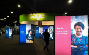 Graphics and floor signs at the Sage Summit